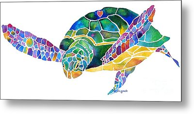 Sea Turtle Celebration 4 Prints Only Metal Print by Jo Lynch