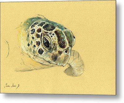 Sea Turtle Watercolor Metal Print by Juan  Bosco