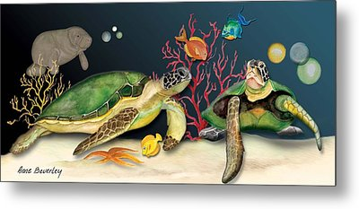 Sea Turtles Metal Print by Anne Beverley-Stamps