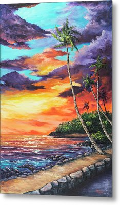 Metal Print featuring the painting Sea Wall Lahaina by Darice Machel McGuire