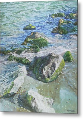 Metal Print featuring the painting Sea Water With Rocks On Shore by Martin Davey