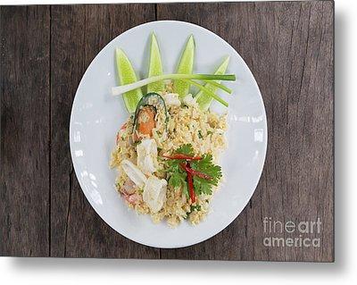Seafood Fried Rice Metal Print by Atiketta Sangasaeng