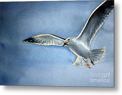 Metal Print featuring the painting Seagull by Eleonora Perlic