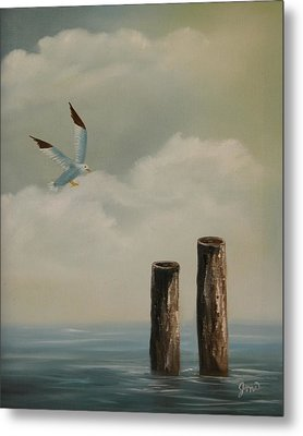 Metal Print featuring the painting Seagull Landing by Joni McPherson
