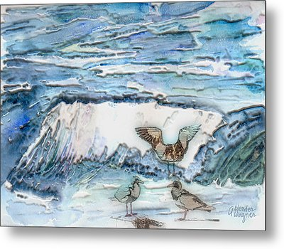 Seagulls In The Surf Metal Print by Arline Wagner