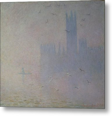 Seagulls Over The Houses Of Parliament Metal Print by Claude Monet