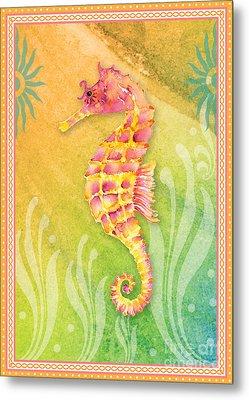 Seahorse Pink Metal Print by Amy Kirkpatrick