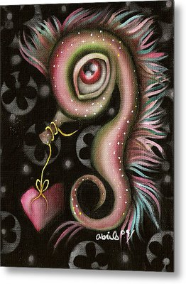 Seahorse With Heart Metal Print by  Abril Andrade Griffith
