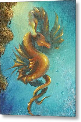 Metal Print featuring the painting Seahorses In Love II  by Dina Dargo