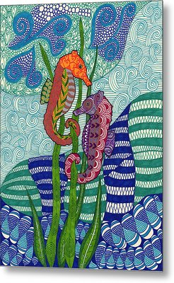 Seahorses In The Waves Metal Print by Sharon White