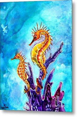 Seahorses Metal Print