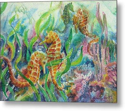 Seahorses Three Metal Print by Deborah Younglao