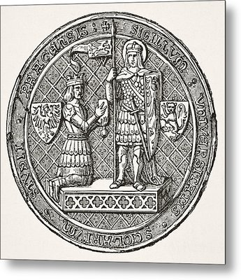 Seal Of The University Of Prague From Metal Print by Vintage Design Pics