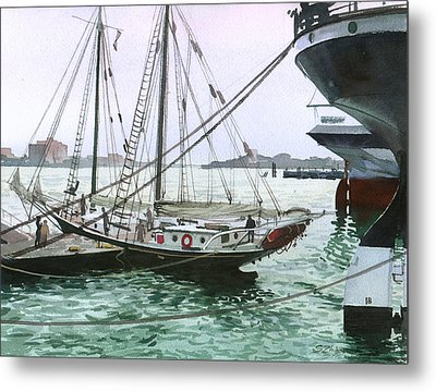 Metal Print featuring the painting Seaport New York by Sergey Zhiboedov