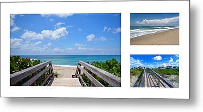Seascape  Boardwalks Treasure Coast Florida Collage 1 Metal Print