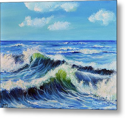Metal Print featuring the painting Seascape No.3 by Teresa Wegrzyn
