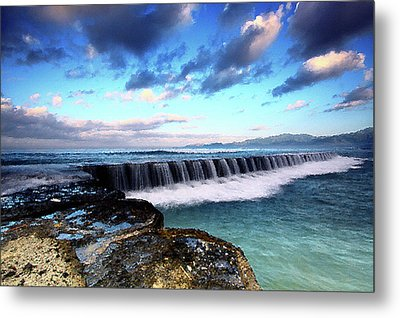 Seascape Paintings For Sale - Falling Oceans Metal Print by Frances Leigh