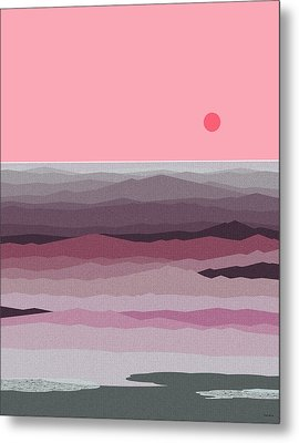 Seascape Pinks Metal Print by Val Arie
