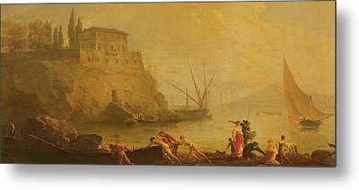 Seascape, Sunset  Fishermen Pushing Out A Boat  Metal Print by Claude Joseph Vernet