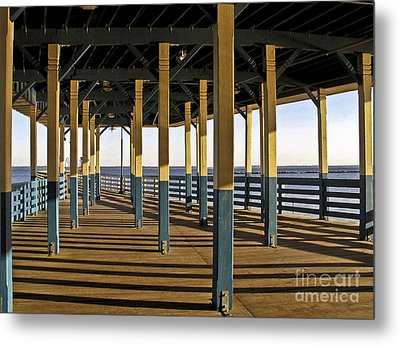 Seascape Walk On The Pier Metal Print by Carol F Austin