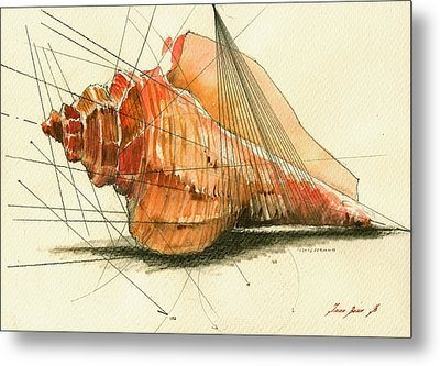 Seashell Art Painting Metal Print by Juan  Bosco