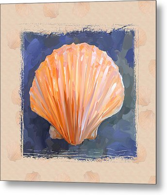 Seashell I Grunge With Border Metal Print by Jai Johnson