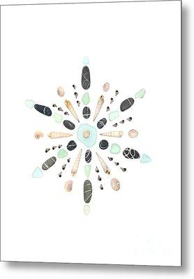 Seashell Snowflake 5 Metal Print by Jennifer Booher