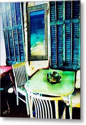 Seaside Cafe Metal Print