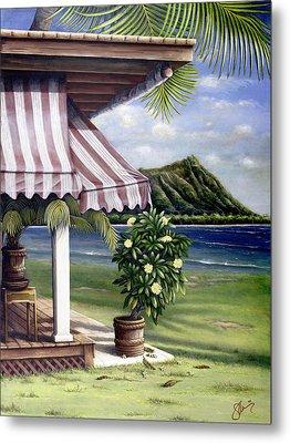 Seaside Hotel Metal Print by Sandra Blazel - Printscapes