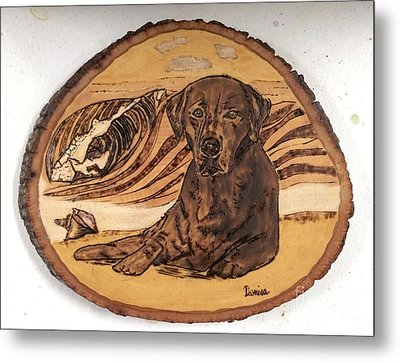 Metal Print featuring the pyrography Seaside Sam by Denise Tomasura