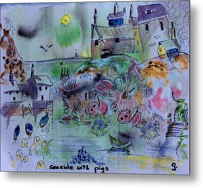 Seaside With Pigs Metal Print by Gordon Bell