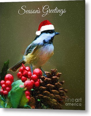 Seasons Greetings Chickadee Metal Print