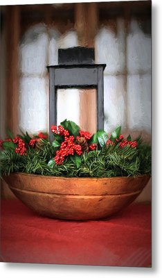 Metal Print featuring the photograph Seasons Greetings Christmas Centerpiece by Shelley Neff