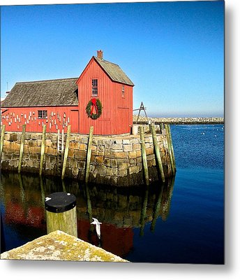 Season's Greetings Rockport Ma Metal Print