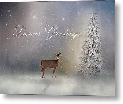 Seasons Greetings With Deer Metal Print by Ann Bridges