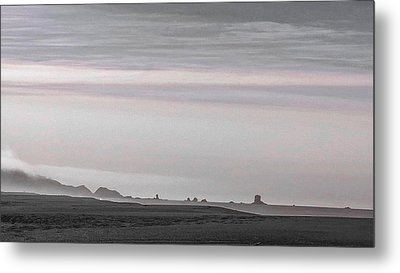 Seastacks In Fog Metal Print