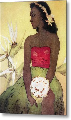 Seated Hula Dancer Metal Print by Hawaiian Legacy Archives - Printscapes