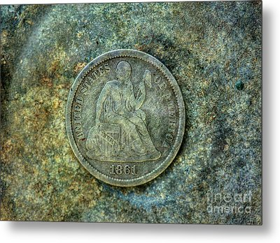 Metal Print featuring the digital art Seated Libery Dime Coin Obverse by Randy Steele