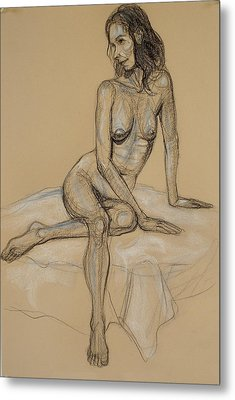 Seated Nude 4 Metal Print by Donelli  DiMaria