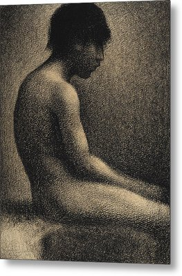 Seated Nude Study For Une Baignade Metal Print by Georges-Pierre Seurat