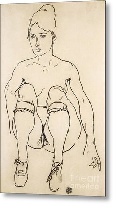 Seated Nude With Shoes And Stockings Metal Print by Egon Schiele