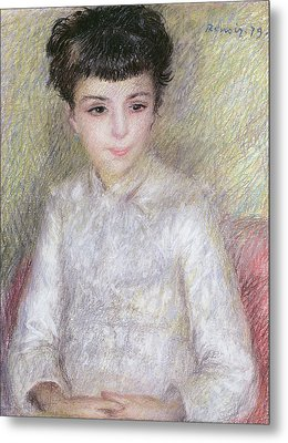 Seated Portrait Of A Young Girl With Brown Hair Metal Print by Pierre Auguste Renoir