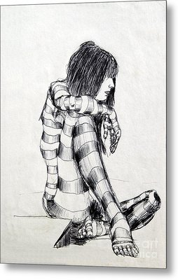 Seated Striped Nude Metal Print by Ron Bissett
