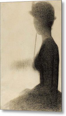 Seated Woman With A Parasol Study For La Grande Jatte Metal Print by Georges-Pierre Seurat