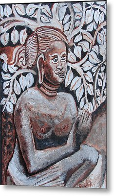 Metal Print featuring the painting Seated Women In Javanse Manner by Anand Swaroop Manchiraju