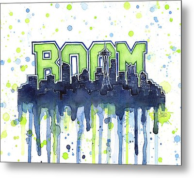 Seattle 12th Man Legion Of Boom Watercolor Metal Print
