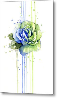 Seattle 12th Man Seahawks Watercolor Rose Metal Print