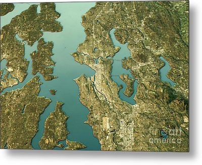 Seattle 3d Landscape View South-north Natural Color Metal Print by Frank Ramspott