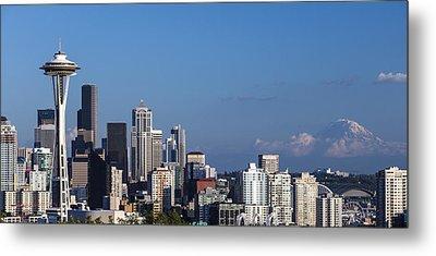 Seattle And Mt Rainier Metal Print by Ed Clark