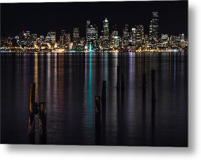 Seattle At Night Metal Print by Ed Clark